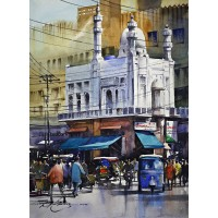 Sarfraz Musawir, Shah Alam Market Lahore, 11 x15 Inch, Watercolor on Paper, Cityscape Painting, AC-SAR-080
