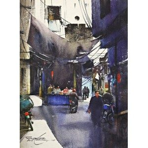 Sarfraz Musawir, Walled City, 11 x15 Inch, Watercolor on Paper, Cityscape Painting, AC-SAR-081