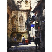 Sarfraz Musawir, Walled City, 11 x15 Inch, Watercolor on Paper, Cityscape Painting, AC-SAR-082
