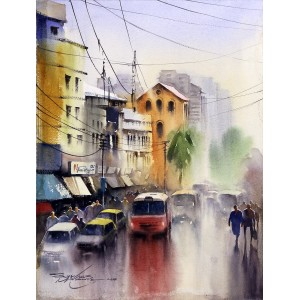 Sarfraz Musawir, M.A.Jinnah Road, 11 x15 Inch, Watercolor on Paper, Cityscape Painting, AC-SAR-087
