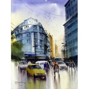 Sarfraz Musawir, Jama Cloth Market, 11 x15 Inch, Watercolor on Paper, Cityscape Painting, AC-SAR-088