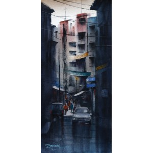 Sarfraz Musawir,10 x 22 Inch, Watercolor on Paper, Cityscape Painting, AC-SAR-096