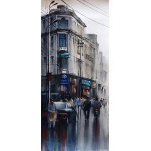 Sarfraz Musawir,10 x 22 Inch, Watercolor on Paper, Cityscape Painting, AC-SAR-097