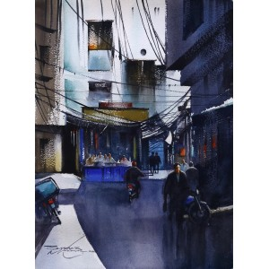 Sarfraz Musawir,11 x 15 Inch, Watercolor on Paper, Cityscape Painting, AC-SAR-098
