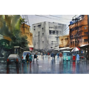 Sarfraz Musawir,15 x 22 Inch, Watercolor on Paper, Cityscape Painting, AC-SAR-101