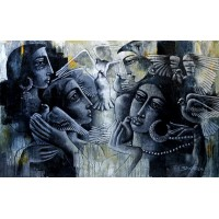Shaista Momin, Untitled, 26 x 42 Inch, Acrylic on Canvas, Figurative Painting, AC-SHM-006