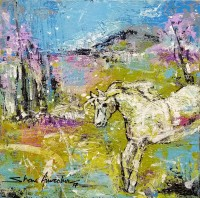 Shan Amrohvi, 08 x 08 inch, Oil on Canvas, Horse Painting, AC-SA-090